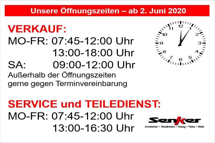 Senker Öffnungszeiten ab Juni 2020